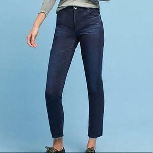 AG Stevie Ankle Slim Straight Dark Jeans Fray Hem